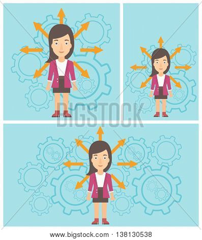 Young woman with many arrows around her head standing on a blue background with cogwheels. Concept of career choices. Vector flat design illustration. Square, horizontal, vertical layouts.