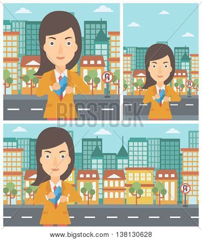 Young business woman putting an envelope in her pocket on a city background. Vector flat design illustration. Square, horizontal, vertical layouts.