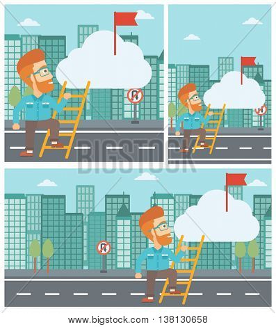 Young hipster businessman with the beard climbing up the ladder to get the red flag on the top of the cloud. Vector flat design illustration. Square, horizontal, vertical layouts.