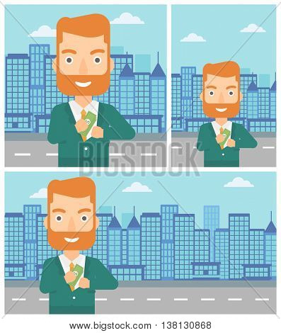 Young hipster businessman with the beard putting money in his pocket on a city background. Vector flat design illustration. Square, horizontal, vertical layouts.