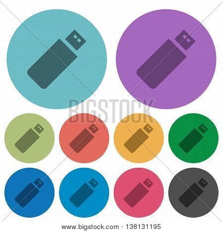 Color pendrive flat icon set on round background.