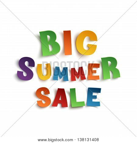 Big summer sale, hand drawn typeface isolated on white background. Vector illustration.