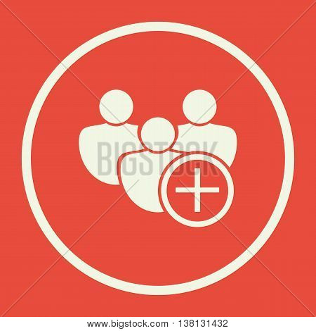 User Add Icon In Vector Format. Premium Quality User Add Symbol. Web Graphic User Add Sign On Red Ba