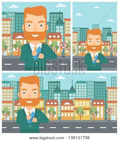 Young hipster businessman with the beard putting an envelope in his pocket on a city background. Vector flat design illustration. Square, horizontal, vertical layouts.