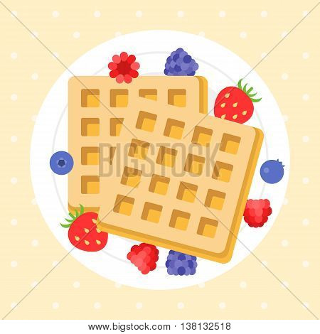 Belgium waffles with berries on plate, flat design