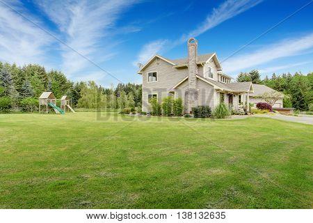 Backyard Playground With Swings, Climbing Wood Panel