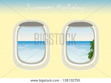 vector airplane windows through which the visible ocean vector