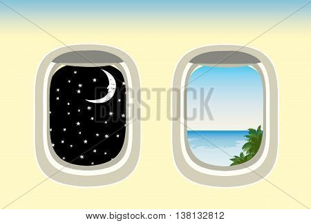vector airplane windows through which the visible ocean and night