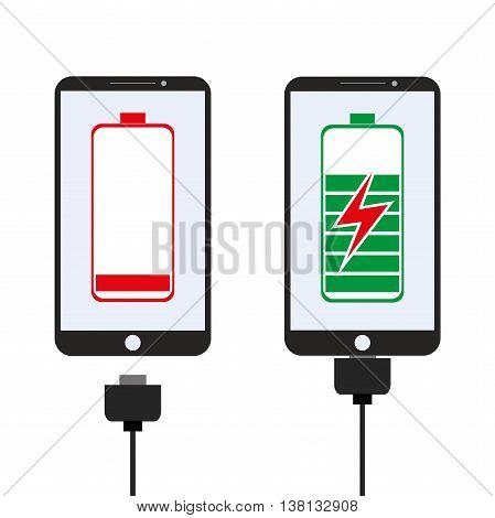 Smartphone charging flat design vector illustration on white background