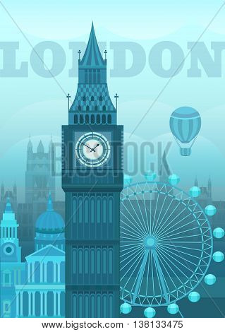 Vector illustration of London. Postcard London. Sights of Britain. Vector illustration on the theme of England. Vector background for invitation cards banners covers postcards flyers posters