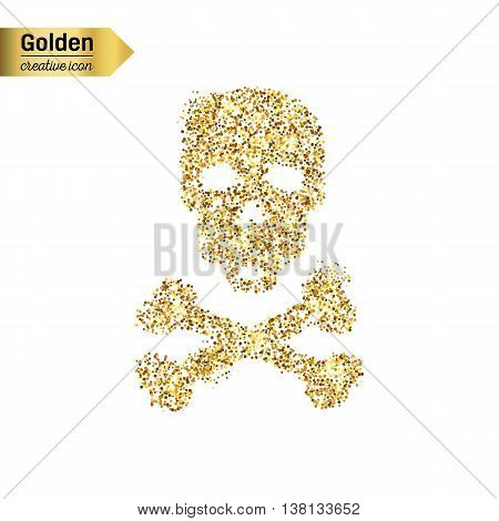 Gold glitter vector icon of skull and crossbones isolated on background. Art creative concept illustration for web, glow light confetti, bright sequins, sparkle tinsel, abstract bling, shimmer dust
