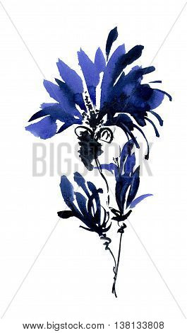 Blue flowers bouquet. Watercolor and ink painting in style gohua sumi-e u-sin. Oriental traditional painting.