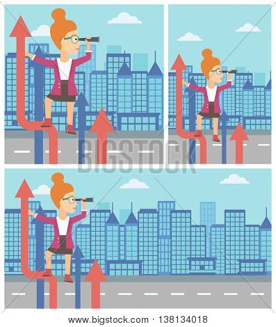 A business woman standing on the top of arrow and looking through spyglass on the background of modern city. Vector flat design illustration. Square, horizontal, vertical layouts.