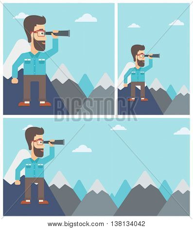 Hipster businessman with the beard standing on the top of mountain with spyglass. Businessman looking for success, opportunities. Vector flat design illustration. Square, horizontal, vertical layouts.