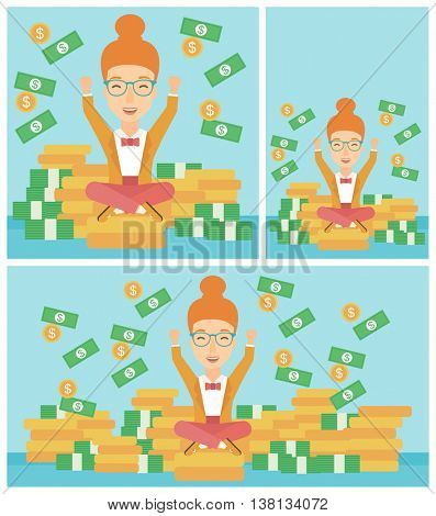 Happy smiling business woman with raised hands sitting on golden coins and money flying around. Successful business concept. Vector flat design illustration. Square, horizontal, vertical layouts.