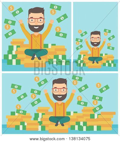 Happy hipster businessman with raised hands sitting on golden coins and money flying around. Successful business concept. Vector flat design illustration. Square, horizontal, vertical layouts.