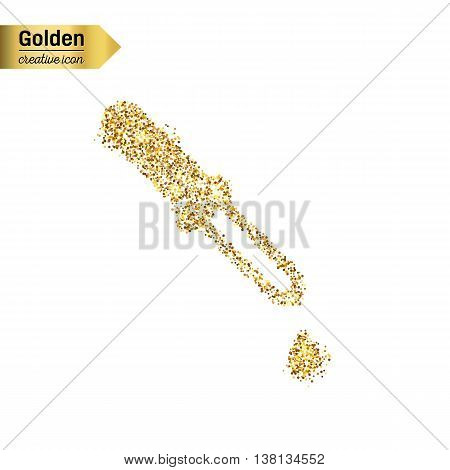 Gold glitter vector icon of Dropper isolated on background. Art creative concept illustration for web, glow light confetti, bright sequins, sparkle tinsel, abstract bling, shimmer dust, foil.