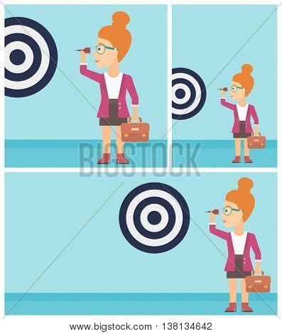Young business woman with a briefcase aiming at a target board. Vector flat design illustration. Square, horizontal, vertical layouts.