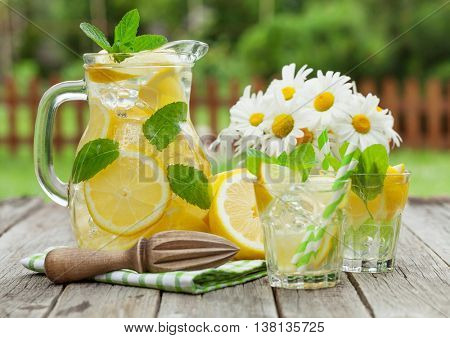 Lemonade with lemon, mint and ice on garden table