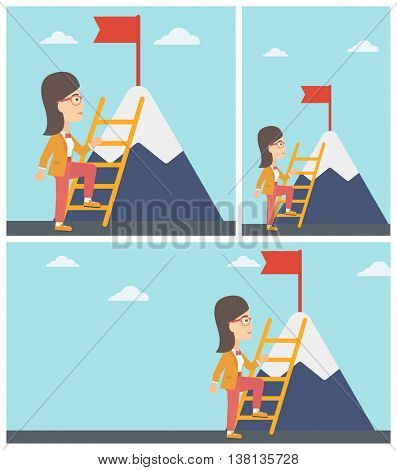 Young business woman standing with ladder near the mountain. Business woman climbing the mountain with a red flag on the top. Vector flat design illustration. Square, horizontal, vertical layouts.