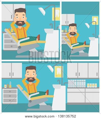 Frightened hipster patient with the beard sitting in dental chair at dentist office. Vector flat design Illustration. Square, horizontal, vertical layouts.