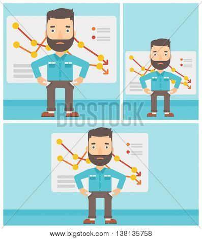 Hipster businessman with the beard showing his epmty pockets on the background of board with decreasing chart. Bankruptcy concept. Vector flat design illustration. Square, horizontal, vertical layouts
