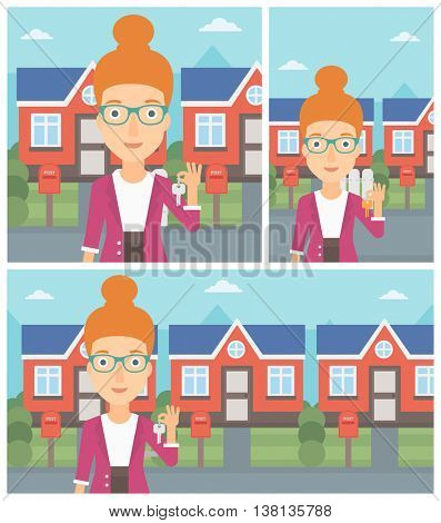 Young female real estate agent holding key. Woman with keys standing in front of the house. Happy new owner of a house. Vector flat design Illustration. Square, horizontal, vertical layouts.