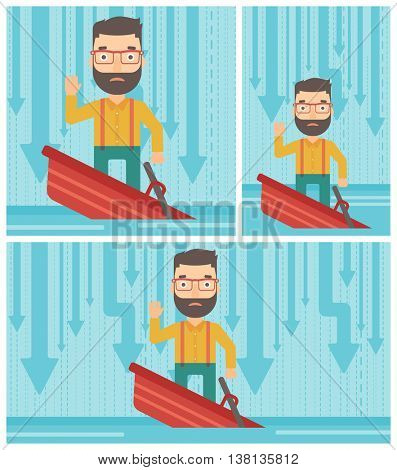 A scared hipster businessman with the beard standing in a sinking boat and asking for help. Concept of business bankruptcy. Vector flat design illustration. Square, horizontal, vertical layouts.