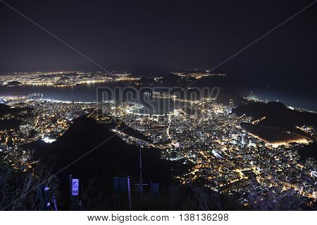 View of the night Botafogo Bay with the whole city lit