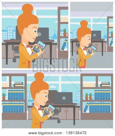Woman looking at house on a digital tablet screen. Young woman standing in office and looking for house on tablet computer. Vector flat design Illustration. Square, horizontal, vertical layouts.