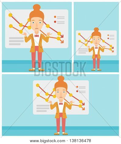 Stressed young business woman standing on the background of a board with decreasing chart. Concept of business bankruptcy. Vector flat design illustration. Square, horizontal, vertical layouts.