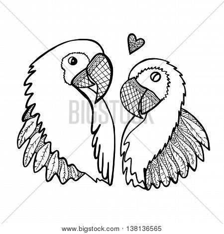 Cute two enamored parrots isolated on the white background. Valentine's Day or other greeting card illustration