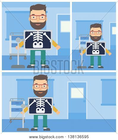 Young hipster man with x ray screen showing his skeleton in examination room. Vector flat design Illustration. Square, horizontal, vertical layouts.