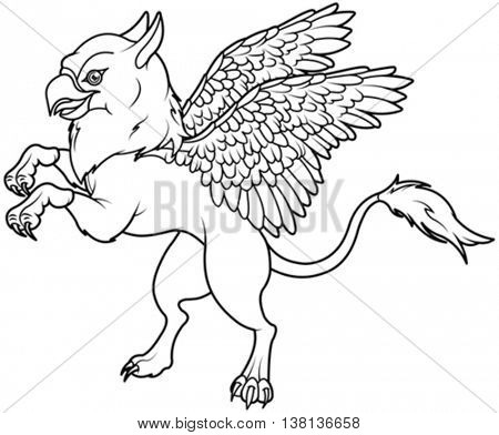 Coloring page of magic flying griffin