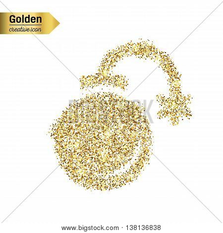 Gold glitter vector icon of exploding bomb isolated on background. Art creative concept illustration for web, glow light confetti, bright sequins, sparkle tinsel, abstract bling, shimmer dust, foil.