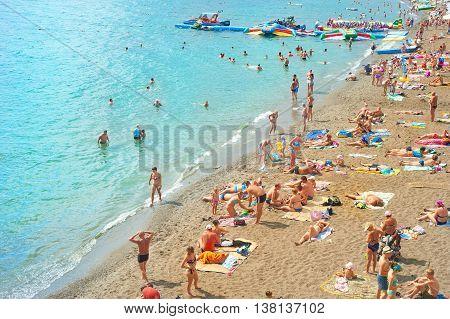Crowded Crimea Beach