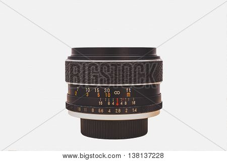 Vintage Manual Focus Camera Lens Isolated On White Background