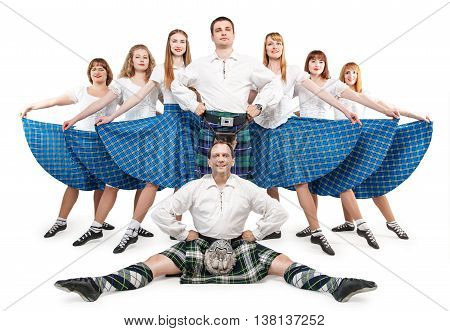 Group of dancers of Scottish dance isolated
