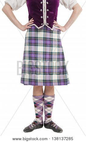 Scottish woman in traditional national costume isolated