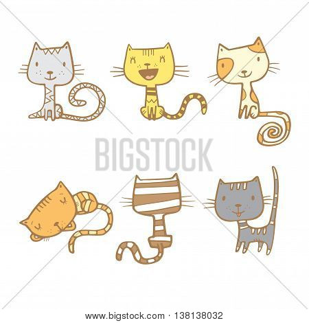 Cartoon doodle colorful cats set. Six little cute kittens. Children's illustration. Funny animals. Vector  image.