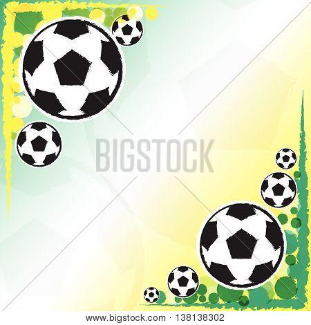 soccer balls over yellow green background, football sport concept, vector