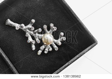 Silver brooch in the shape of coral in black jewel box as a background