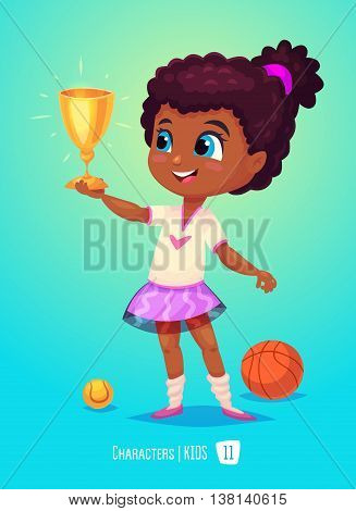 Cute Girl. Back to School isolated cartoon character on blue background. Girl with prize. Great illustration for a school books and more. VECTOR stock illustration.