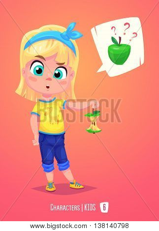 Cute School Girl. Back to School isolated cartoon character with apple on pink background. Great illustration for a school books and more. VECTOR stock illustration.
