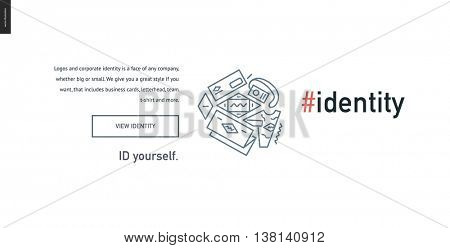 Identity development block website template - contemporary flat vector icon of branding design development and a corresponding text and button layout on white background, for design studio website