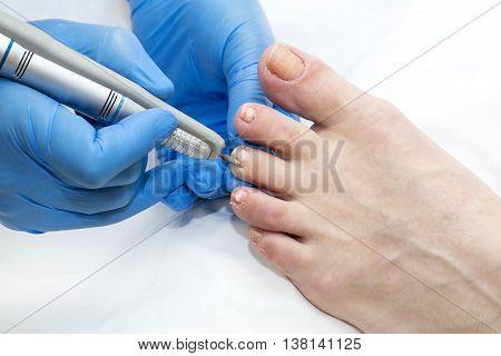 process of pedicure macro at beauty salon