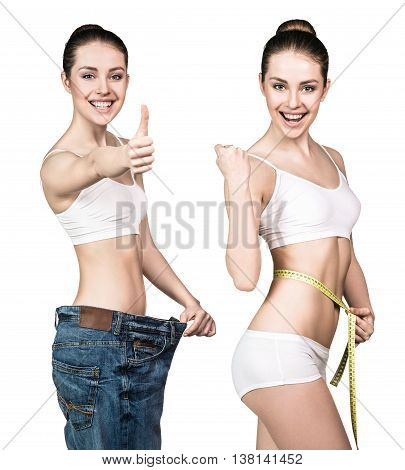 Set of young woman in oversize jeans and with measuring tape.