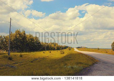 autumn landscape oil paint. Altai Mountains fresh air undisturbed pristine nature Illustration peaceful Highlands Orange oblique field road