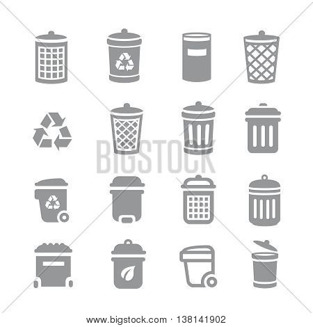 Trash can and recycle bin icons. Garbage and rubbish, clean and waste, dustbin basket