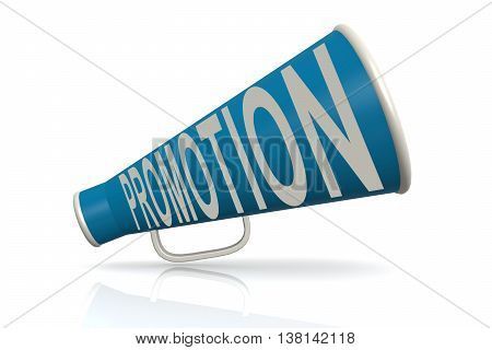 Blue Megaphone With Promotion Word